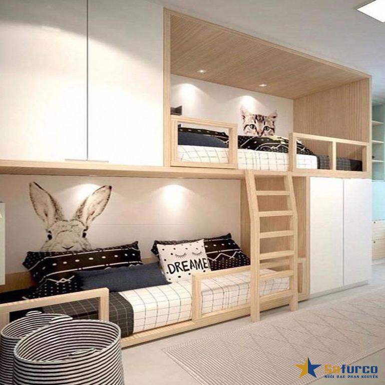Giường tầng kết hợp 1 giường đơn với 1 ghế dài