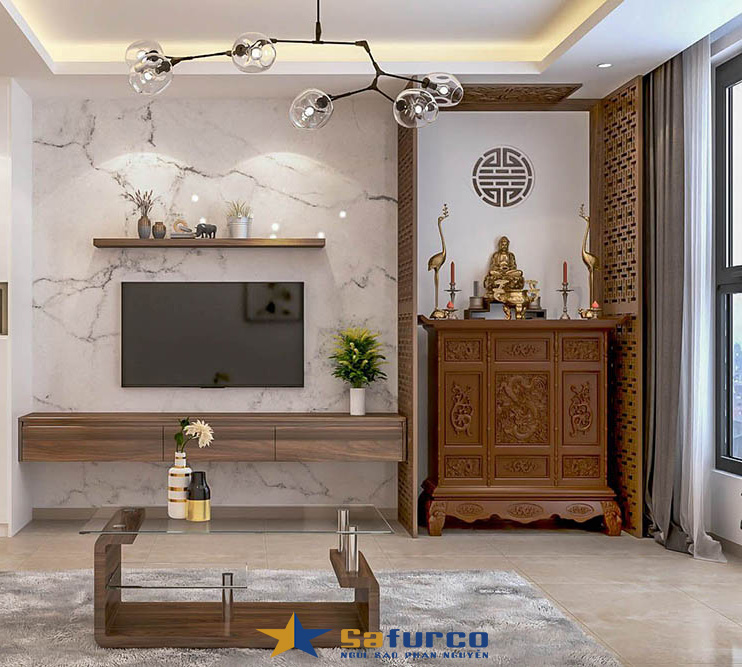 Thiết kế nội thất phòng thờ với vách ngăn tạo không gian rthờ riêng
