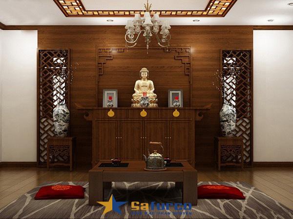 Thiết kế nội thất phòng thờ đối xứng với gam màu trầm