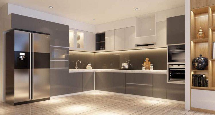 Tủ bếp hiện đại sử dụng gỗ MDF phủ acrylic