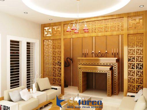 Sử dụng gam màu vàng dịu trong thiết kế nội thất phòng thờ